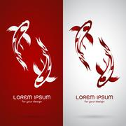 Vector image of an carp koi design on white background and red background, Lo Stock Illustration
