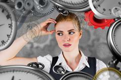 Composite image of thinking redhead businesswoman Stock Illustration