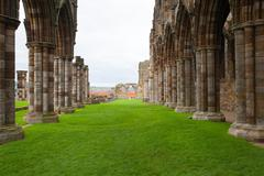 Ruins of Whitby Abbey - stock photo