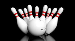 Bowling ball and pins isolated on black background - stock illustration