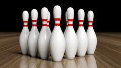 Bowling pins set on wooden floor Stock Illustration