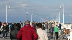 People walking on the pier in Sopot, Poland Stock Footage