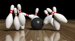 Bowling ball and pins in motion on wooden floor Stock Illustration
