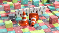 Stock Illustration of WWW letters, traffic cones and cubes with domain extensions