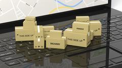 Stack of carton boxes on black laptop keyboard Stock Illustration
