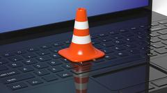 Orange traffic cone on black laptop keyboard - stock illustration