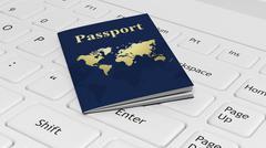 Stock Illustration of Passport on white laptop keyboard