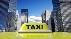Stock Illustration of Yellow taxi car roof sign with city background