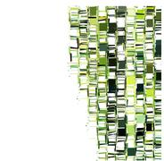 Stock Illustration of green fragmented abstract pattern over white