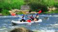 Three girls, womans, in  kayak. Rafting team  50% speed Footage