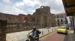 Stock Video Footage of The Church and Convent of Santo Domingo: The Flat Arch in Panama