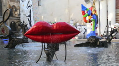 Lips statue in Paris Stock Footage