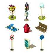 Flat 3d Isometric High Quality City Street Urban Objects Icon Set - stock illustration