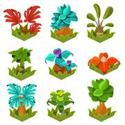 Garden Plants with Flowers for Game - stock illustration