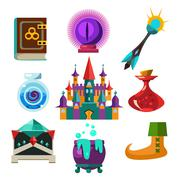 Collection of Vector Fairy Tale Elements Stock Illustration