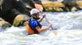 Woman Kayaker in  mountain river. Rafting team  50% speed Footage