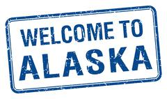 Stock Illustration of welcome to Alaska blue grunge square stamp