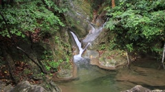 Erawan waterfall in thailand Stock Footage