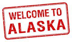Welcome to Alaska red grunge square stamp Stock Illustration