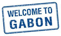 welcome to Gabon blue grunge square stamp - stock illustration