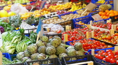 Market stand of fruits and vegetable Stock Footage
