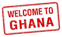 Stock Illustration of welcome to Ghana red grunge square stamp