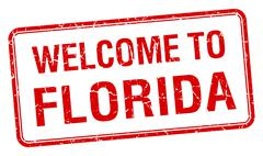 welcome to Florida red grunge square stamp - stock illustration