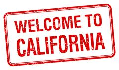 welcome to California red grunge square stamp - stock illustration