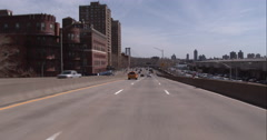 Driving on the FDR Drive towards the Williamsburg Bridge along the East River in - stock footage