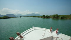 River Calbis in Dalyan on a wooden boat Stock Footage