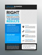 Business flyer template A4 - modern contemporary design in blue and grey Stock Illustration