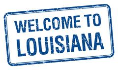 welcome to Louisiana blue grunge square stamp - stock illustration