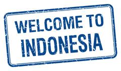 Stock Illustration of welcome to Indonesia blue grunge square stamp