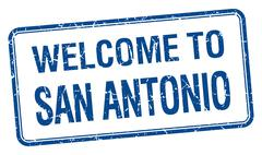 welcome to San Antonio blue grunge square stamp - stock illustration