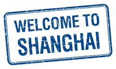Welcome to Shanghai blue grunge square stamp Stock Illustration