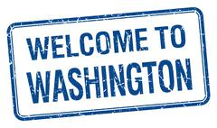 welcome to Washington blue grunge square stamp - stock illustration
