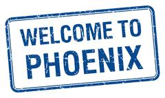 welcome to Phoenix blue grunge square stamp - stock illustration