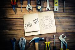 Stock Illustration of Easy diy against blueprint