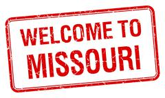 welcome to Missouri red grunge square stamp - stock illustration