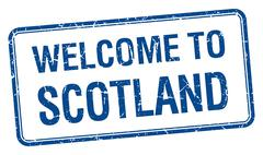 Stock Illustration of welcome to Scotland blue grunge square stamp