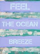 Concept image of FEEL THE OCEAN BREEZE  motivational quote Stock Photos