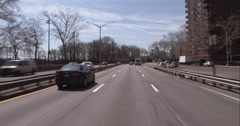 Driving on the FDR Drive towards the Manhattan Bridge in downtown Manhattan - stock footage