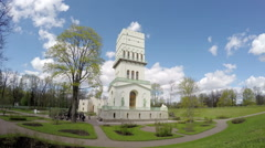 White Tower in Tsarskoye Selo, Pushkin, Russia. time lapse with turn Stock Footage