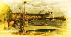 St. Petersburg. Ocean liner moored on the English Embankment - stock illustration