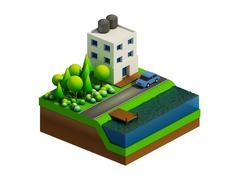 Stock Illustration of isometric city buildings, landscape, Road and river