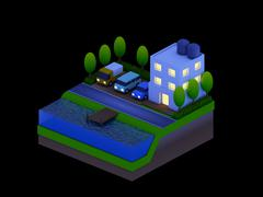isometric city buildings, landscape, Road and river, night scene - stock illustration