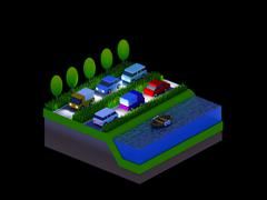 Isometric city buildings, landscape, Road and river, night scene Stock Illustration