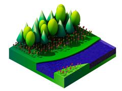 Stock Illustration of isometric nature and landscape