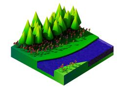 Stock Illustration of isometric nature and landscape