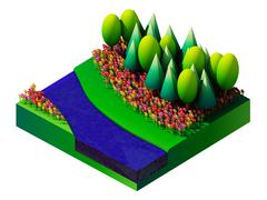 isometric nature and landscape - stock illustration